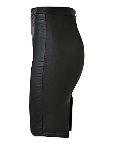 ZhuiKun Mujer Falda Midi Vaquera Elástico Cuero del Faux De Tubo con Abertura Trasera Negro 42
