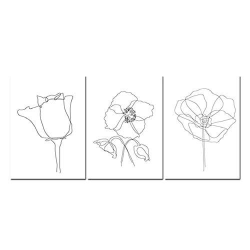 Bloemen Schets Print Botanische Muur Kunst Plant Lijn Tekening Canvas Schilderij Poster Art Muurfoto voor Woonkamer-40X55Cmx3 Stks Frameless