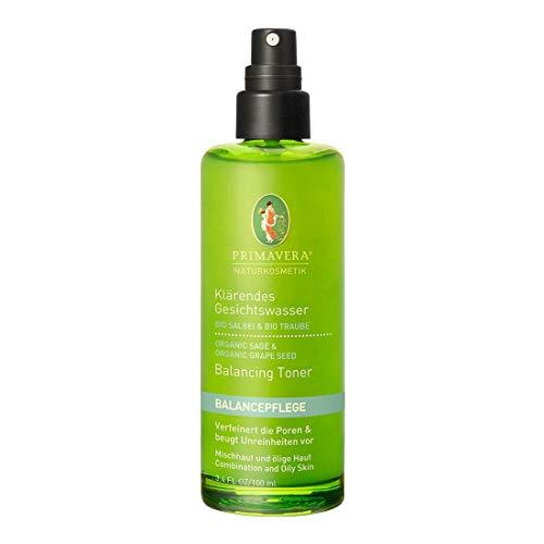 PRIMAVERA Balancepflege Klärendes Gesichtswasser Salbei Traube 100 ml - Naturkosmetik - Porenverfeinerung bei öliger Haut und Mischhaut - vegan