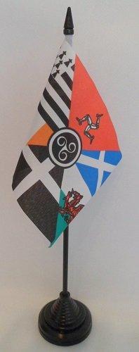 Lot de 12 Breton Celte Nations de l'île de Man, Écosse, Pays de Galles Cornwall Irlande 4 x 6 cm-Drapeaux de bureau avec bâtonnets &Bases