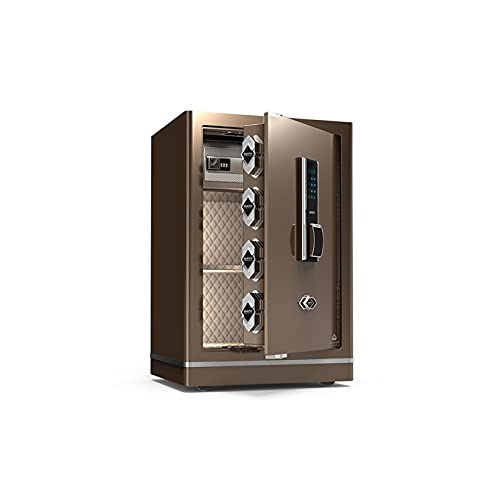 DSWHM Security Lock Boxes, Digital Fingerprint Safe - 34X38X60Cm Large Electronic Steel Safe with Keypad,2 Manual Override Keys-Protect Money,Jewelry,Passports-for Home,Business or Travel