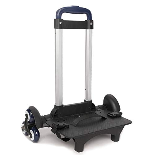 PROTAURI Faltbarer Trolley für Schultaschen - Handwagen auf Rädern für Kinder, Schulrucksack Reisegepäck Trolley mit Schnallen (6 Räder Blau)