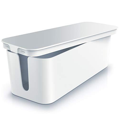 CSL - Kabelbox mit Gummifüßen - Kabelmanagement - Kabelkasten - Box zum Kabel verstecken - Mehrfachstecker-Organisator - Handy Ladebox - Schutz und Sicherheit - Anti-Rutsch-Boden - weiß