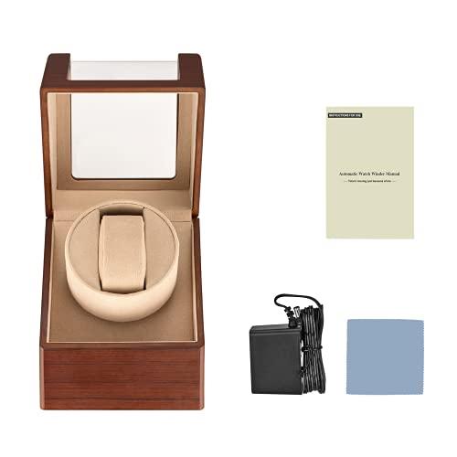 ETE ETMATE Caja automática de la devanadera del reloj, caja automática del movimiento del reloj, enrollador del reloj único, caja del devanador del reloj de madera con motor silencioso