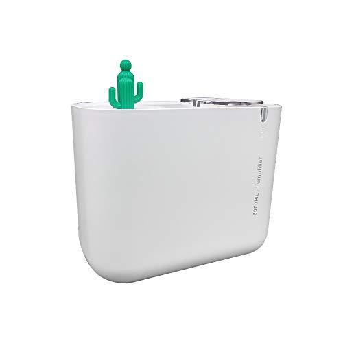 Humidificador de 3L, Humidificador Ultrasónico Silencioso USB Difusor de Aroma, Tres Colores de Luces, Adecuada para Hogar Dormitorio Oficina Yoga - Blanco