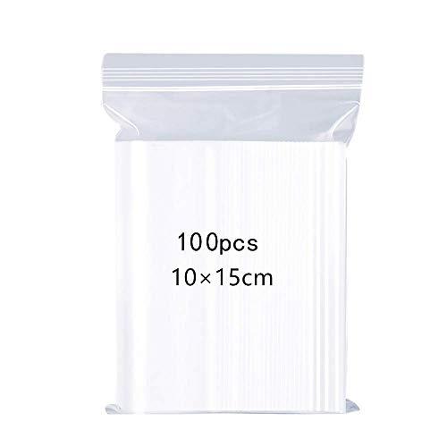Wiederverschließbare Durchsichtige Plastiktüten,Versiegelte Aufbewahrungsbeutel,Verdickung und Haltbarkeit, Pressenversiegelungsbeutel,Gelten Küchenspeicher, Schmuckverpackungen,10x15cm 100PCS