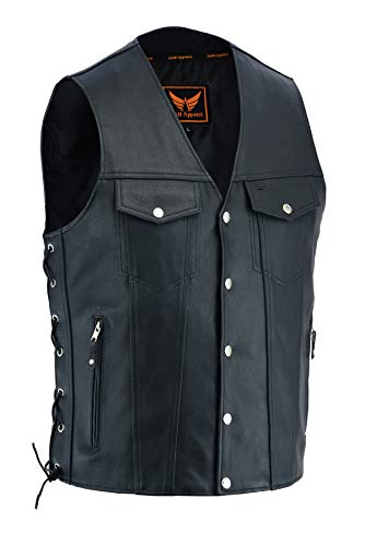 A&H Apparel Mens Genuine Cowhide Leather Vest Biker Vest Concealed Carry Durable Vest (XX-Large)
