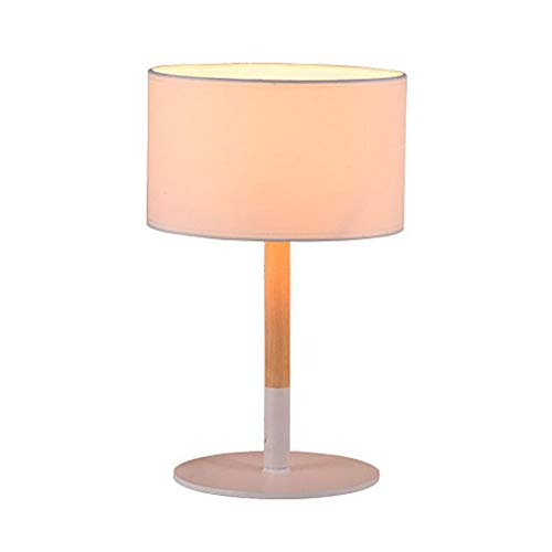 Wtbew-u houten tafellamp, led-oogbescherming bureaulamp, Noordse stijl eenvoudige moderne witte doek ijzeren slaapkamer nacht bruiloft woonkamer werkkamer