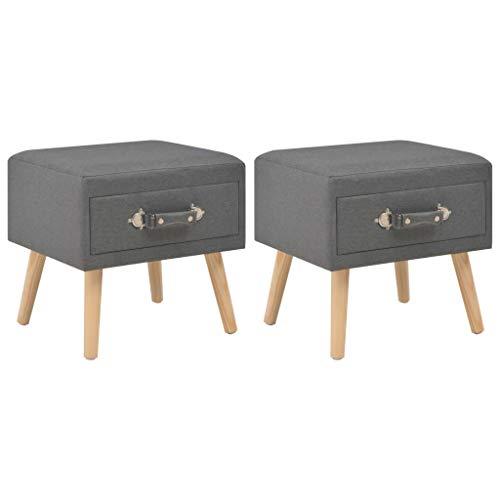 vidaXL 2X Nachttisch mit 1 Schublade Nachtschrank Nachtkonsole Nachtkommode Schlafzimmer Kommode Schrank Beistelltisch Dunkelgrau Stoff 40x35x40cm