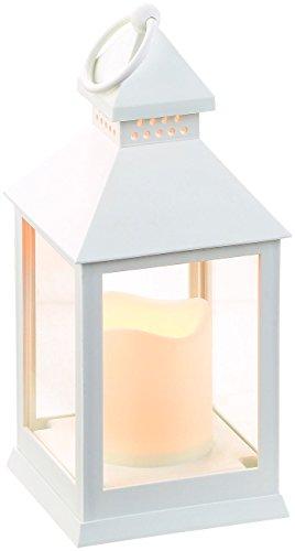 Lunartec LED Grablicht mit Timer: Laterne mit flackernder LED-Kerze und Timer, Batteriebetrieb, weiß (Grablicht mit Batterie und Timer)