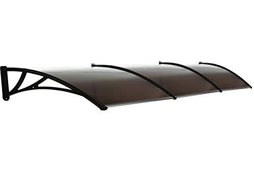 Toldo exterior para puerta delantera – 220 x 105 cm (87 x 41 pulgadas) – Toldo exterior impermeable – Toldo de techo para ventana exterior – Toldo negro para puertas de lluvia
