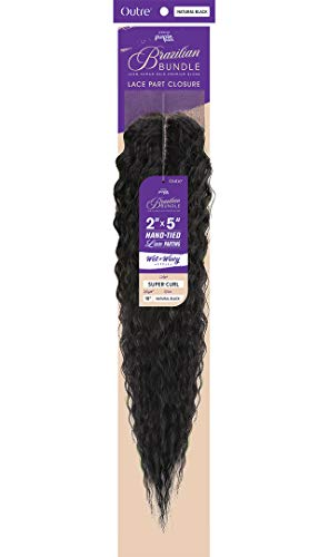 Outre PURPLE PACK Brazilian Bundle Hand-Tied Lace Part 2X5 Closure 18 Inch 100% Human Hair Premium Blend flawless finish - WET&WAVY SUPER CURL 18 (NA)