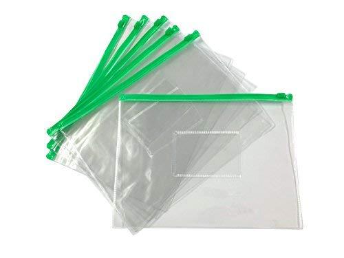 Lot de 12 sacs à fermeture Éclair A5 Vert Zippy – Document clair Plastique transparente de stockage de portefeuille