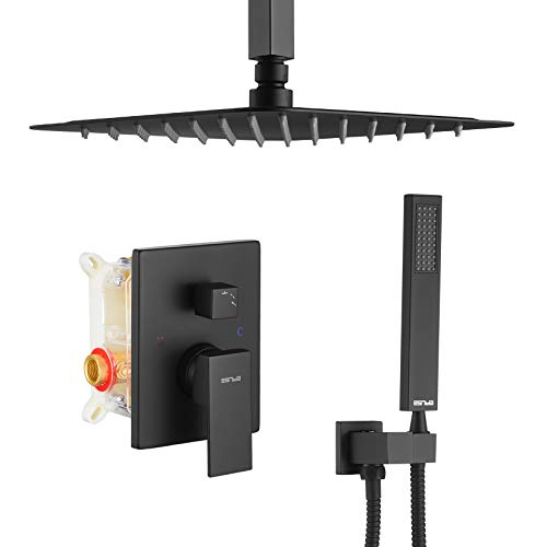 ESNBIA Ceiling Shower System, Bathroom 10 Inches Rain Shower Head with Handheld Combo Set, High Pressure Rainfall Dual Shower Head System, Shower Faucet Set with Valve and Trim, Matte Black