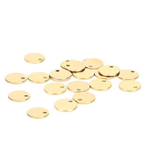 20 piezas de acero inoxidable con orificios para colgantes redondos accesorios para hacer joyas...