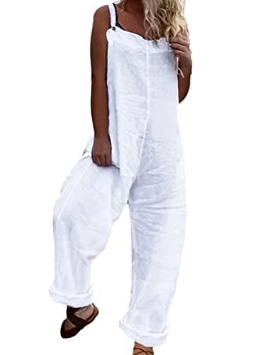 Onsoyours Latzhose Damen Jumpsuit mit Träger Retro Overalls Oversize Lose Hose Lange Baggy Sommerhose Blumen Playsuit Romper B Weiß L