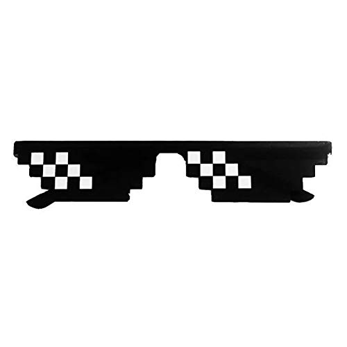 N/ A Double Mosaic Stripe Sonnenbrillen Trick Toy Thug Life Brille Deal with It Brille Pixel Frauen Männer Black Sunglasses Lustiges Spielzeug