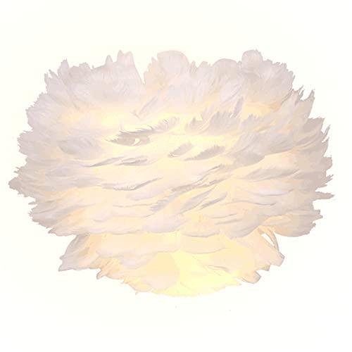 SENQIU Lámpara de pared de plumas blancas,Decoración Elegante de Aplique Pared Plumas Base E27,Estar,Dormitorio,Comedor, Sala De Exposiciones, Hotel 30 * 23cm 12w