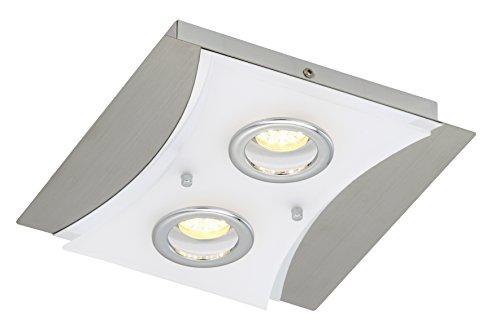 LED Deckenleuchte, Deckenlampe, LED Modul, 2 x 5 Watt, 400 Lumen, inkl. Diffusor, matt-nickel