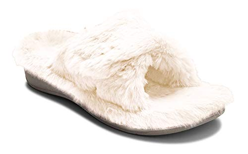 Vionic Women's Indulge Relax Plush Slipper - Adjustable Slipper with Concealed Orthotic Support Ivory 12 Medium US