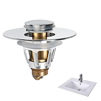OUQMVQ Upgraded Sink Stopper Bathroom Pop up with Filter Basket for 1.1-1.26 inch (1, Silver)