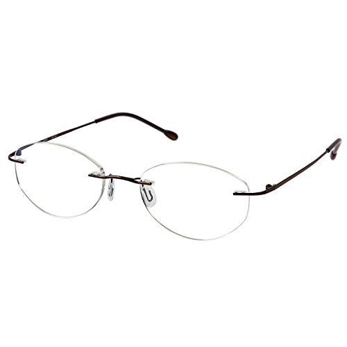 MIDI (ミディ) 老眼鏡 ふちなし ブルーライトカット UVカット メタルフレーム オーバル レディース カラー:ブラウン(M119,C5,+2.00)