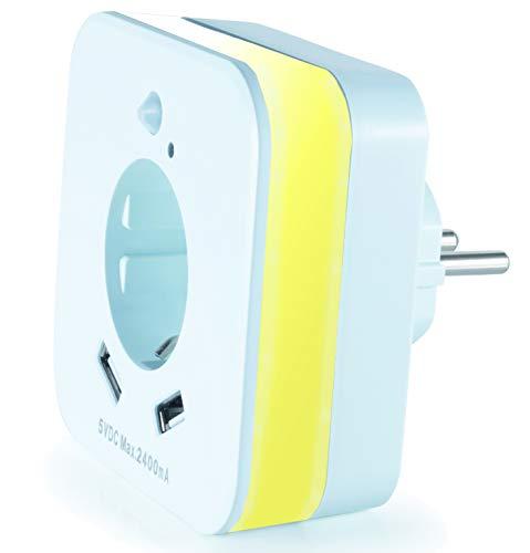 InnTec LED-Nachtlicht mit Bewegungsmelder und Steckdose, 2x USB 2.4A, weiß, automatischer Lichtsensor, GS (geprüfte Sicherheit) (1 Stück)