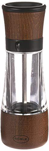 RÖSLE Gewürzmühle, Hochwertige Salz-/Pfeffermühle mit verstellbaren Mahlstufen für trockene Gewürze, einfaches Nachfüllen, Buchenholz