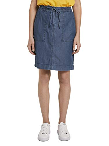 TOM TAILOR Damen Röcke Sportlicher Lyocell-Rock im Denim-Look Blue Denim,44,10110,6000
