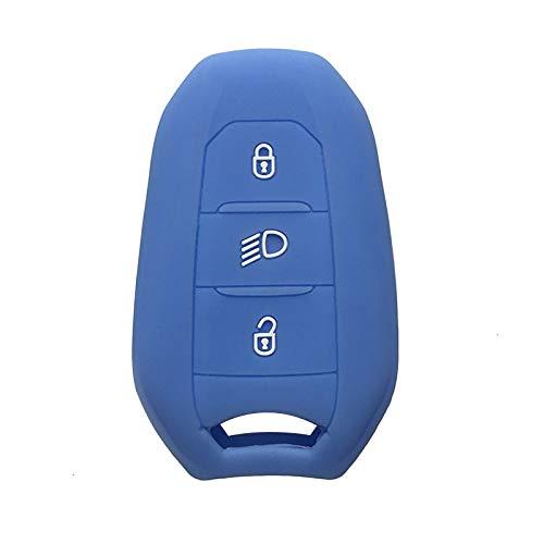 Soporte de la Cubierta de la Carcasa Funda para Llave de Coche 5008 DS5 DS6 para Peugeot 208 DS3 para Citroen C4 C5 X7 Cubierta de Llave de Control Remoto Inteligente de Goma de Silicona Azul Claro