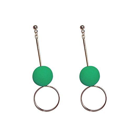 Demarkt 1pcs Boucles d'oreilles à billes longues en métal Cadeau De Fête Des Mères, Femme Fille Cadeau idéal pour Saint-Valentin Boucles d'oreilles (Vert)