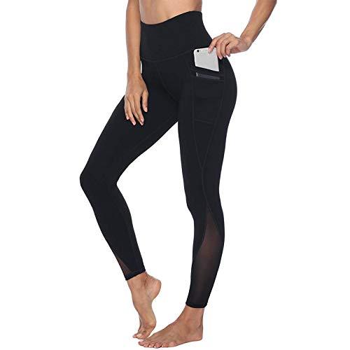 YRxUIAI Mallas deportivas con bolsillos vacíos de encaje para mujer Tie Dye 7/8 Leggings Yoga Push Up Pants Pantalones de compresión elásticos Ropa para entrenamiento Fitness Running Gimnasio Negro M