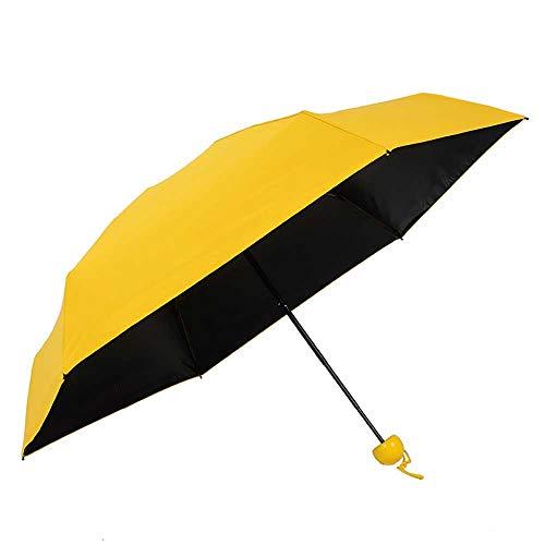 Axb Mini paraguas compacto, paraguas de la cápsula Mini Travel Sun y paraguas de lluvia con linda caja de cápsulas,Amarillo