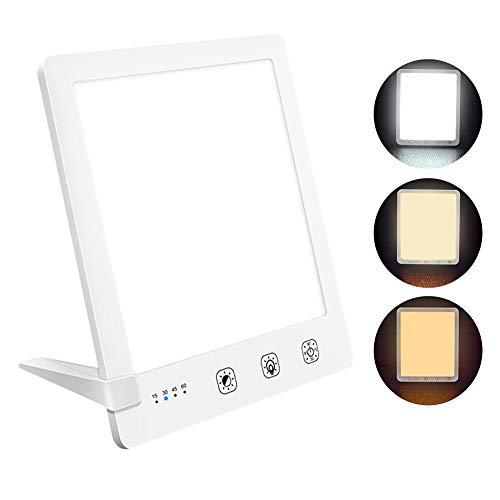 Tageslichtlampe Lichttherapielampe 10000 lux,USB Tageslichtleuchte mit 3 Lichtfarben UV-FREE Vollspektrumlampe mit USB LED Daylight Lamp mit Zeitschaltuhr,Touch-Steuerung