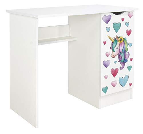 Leomark Scrivania per bambini - ROMA - bianco scrittoio set di mobili per computer, stile moderno, Tavolo per imparare e giocare, Altezza: 77 cm (unicorno)
