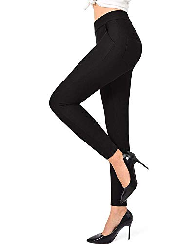 Ginasy Dress Pants for Women Stretch Pull-on Pants Ease into Comfort Office Ponte Pants Black