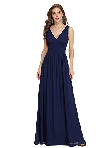 Ever-Pretty Vestito da Cerimonia Donna Linea ad A Stile Impero Chiffon Scollo a V Senza Maniche Blu Navy 54