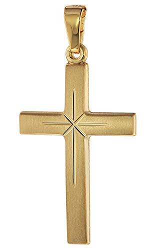 trendor Kreuz-Anhänger Gold 585 (14 Karat) 24 mm Damen und Herren Goldanhänger, modischer Kreuzanhänger, Geschenkidee, eleganter Schmuck aus Echtgold 75281