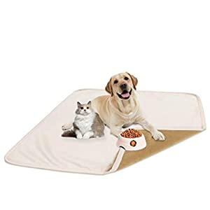 fuguitex Waterproof Dog Bed Cover Dog Pee Pad Dog Mat Dog Rug Carpet Washable Resuable Crystal Velvet Puppy Pad for Training 2 Pieces(30″ 30″,Cream+Sand)