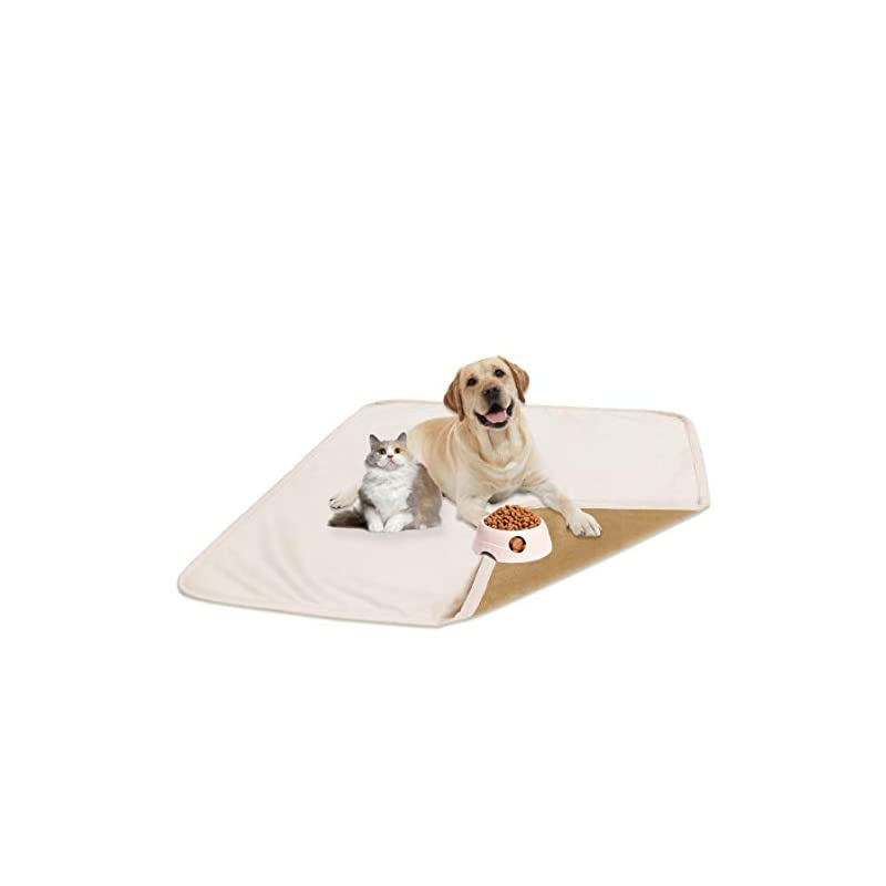 """dog supplies online fuguitex waterproof dog bed cover dog pee pad dog mat dog rug carpet washable resuable crystal velvet puppy pad for training 2 pieces(30"""" 30"""",cream+sand)"""