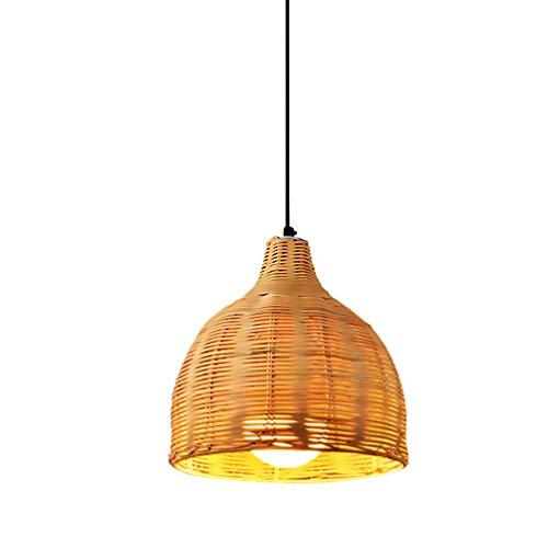 Beaupretty Lámpara colgante de ratán de mimbre tejida para techo, 12 W, estilo asiático, para sala de estar, dormitorio, cafetería,...
