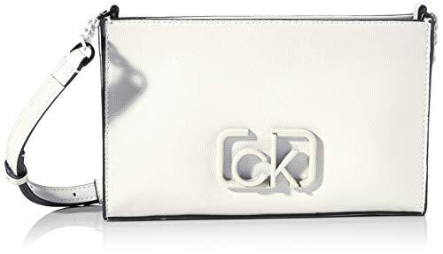 Calvin Klein - Ck Signature Ew Crossbody, Bolsos bandolera Mujer, Blanco (White), 1x1x1 cm (W x H L)