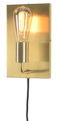 it's about RoMi MADRID Wandleuchte mit Stecker und Schalter, Wandlampe für LED und Glühbirne, E27 (Gold)