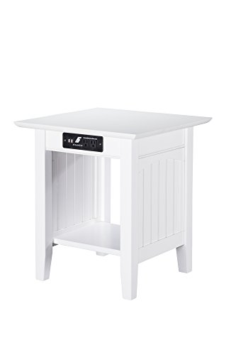 Atlantic Furniture Nantucket End Table with Charging Station, White
