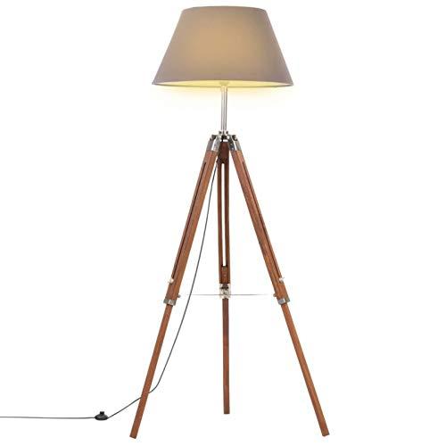 pedkit Lampadaire à Trépied Lampadaire sur Pied en Bois Lampe de Salon Hauteur Réglable Marron Miel et Gris 141 cm