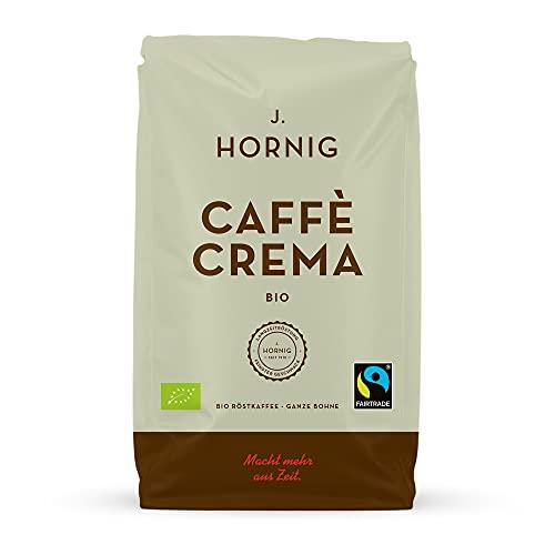 J. Hornig Kaffeebohnen Bio & Fair Trade, Caffè Crema Bio, 1000g, kräftig nussiges Aroma, perfekt für Espresso, Cappuccino & Mokka, ganze Bohnen
