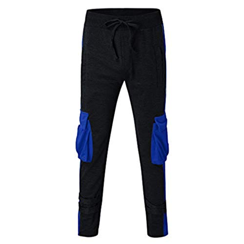 Heren jogger Cargo Chino jeans broek elastische taille lange vrije tijd sportbroek slim fit ruiten joggingbroek X-Large zwart