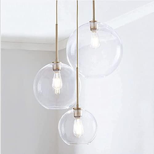 Lámpara colgante ajustable 3 bolas de vidrio Colgante de iluminación de accesorios, colgantes de lámpara de colgantes con sombra de cristal degradado, lámpara de techo industrial para techos altos DUP