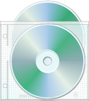 "Univenture 2 Hole Top Load CD/DVD Page, 5.625"" x 5"", 3.13"" Hole spacing - Box of 800"