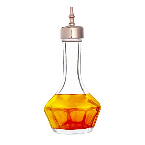BELLE VOUS Botella Licor - 13cm Botella de Cristal Libre de Plomo con Dosificador Acero Inoxidable 50ml Herramienta Bar Profesional para Hacer Cocteles y el Whisky